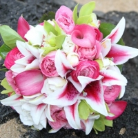 Wedding Bouquet with Stargazer Lilies