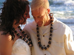 kauai wedding couple standing close to each on beach