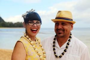 kauai wedding couple laughing on beach