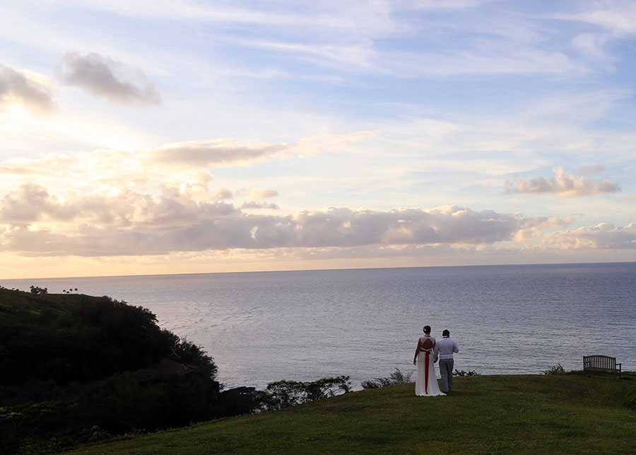 Wedding Couple Looking at Sunset on Kauai
